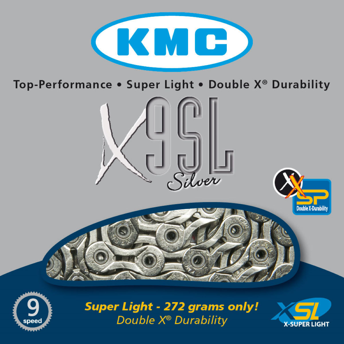 KMC X9-SL Silver 9 Speed Chain