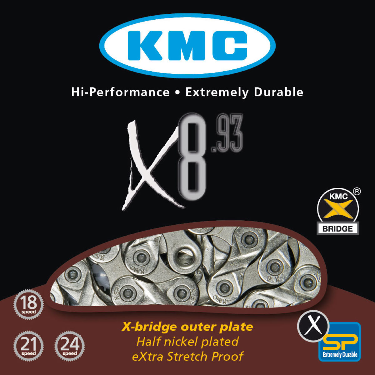 KMC X8-93 8 Speed Chain