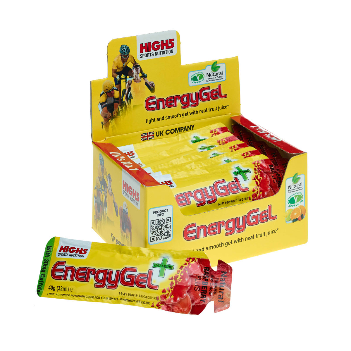 Gels High5 Energy Gel Plus (20 x 38 g) - 21-40g 11-20 Raspberry