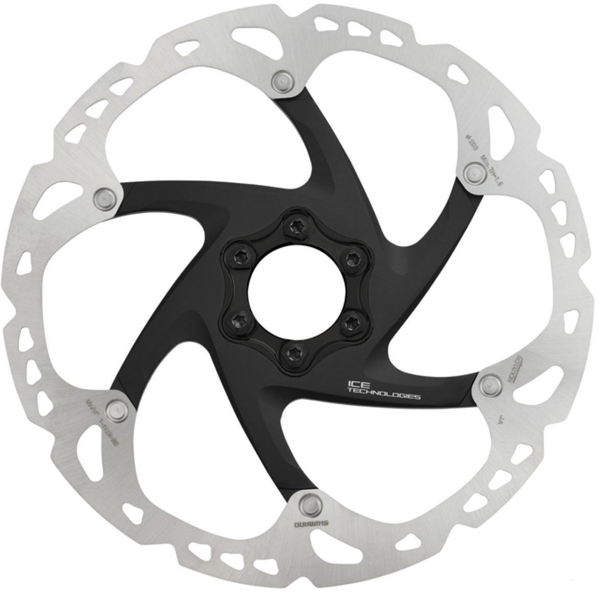 Disque Shimano XT RT86 Ice-Tec (6 trous, 203 mm) - 203mm 6-Bolt Gris Disques de freins