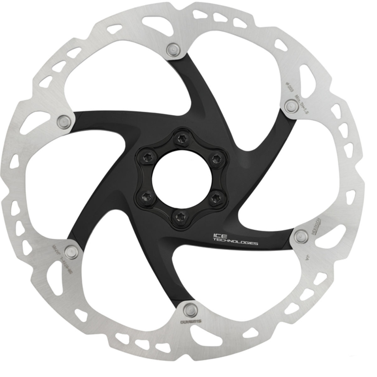 Disque Shimano XT RT86 Ice-Tec (6 trous, 180 mm) - 180mm 6-Bolt Silver Grey/Black Disques de freins
