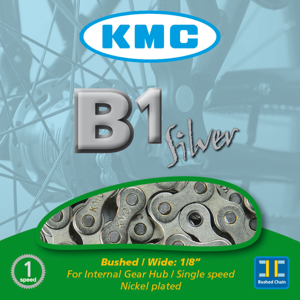 Chaîne single-speed KMC B1 - 1 1/8'' 112 Links Argenté Chaînes