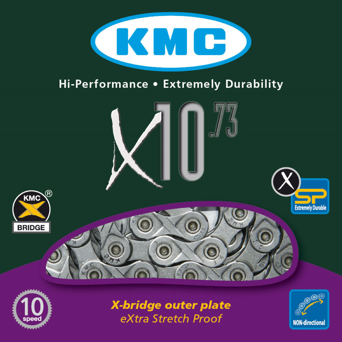 Chaîne KMC X10-73 10 vitesses (112 maillons) - 10 Speed, 112 Links