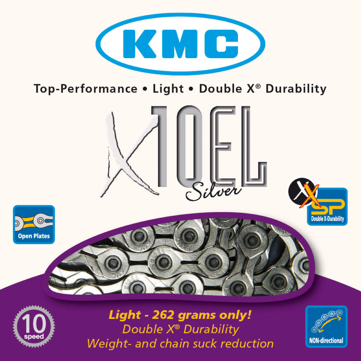 KMC X10-EL Silver 10 Speed Chain