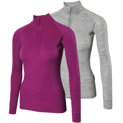 dhb Ladies Merino L/S Zip Neck Baselayer M_190