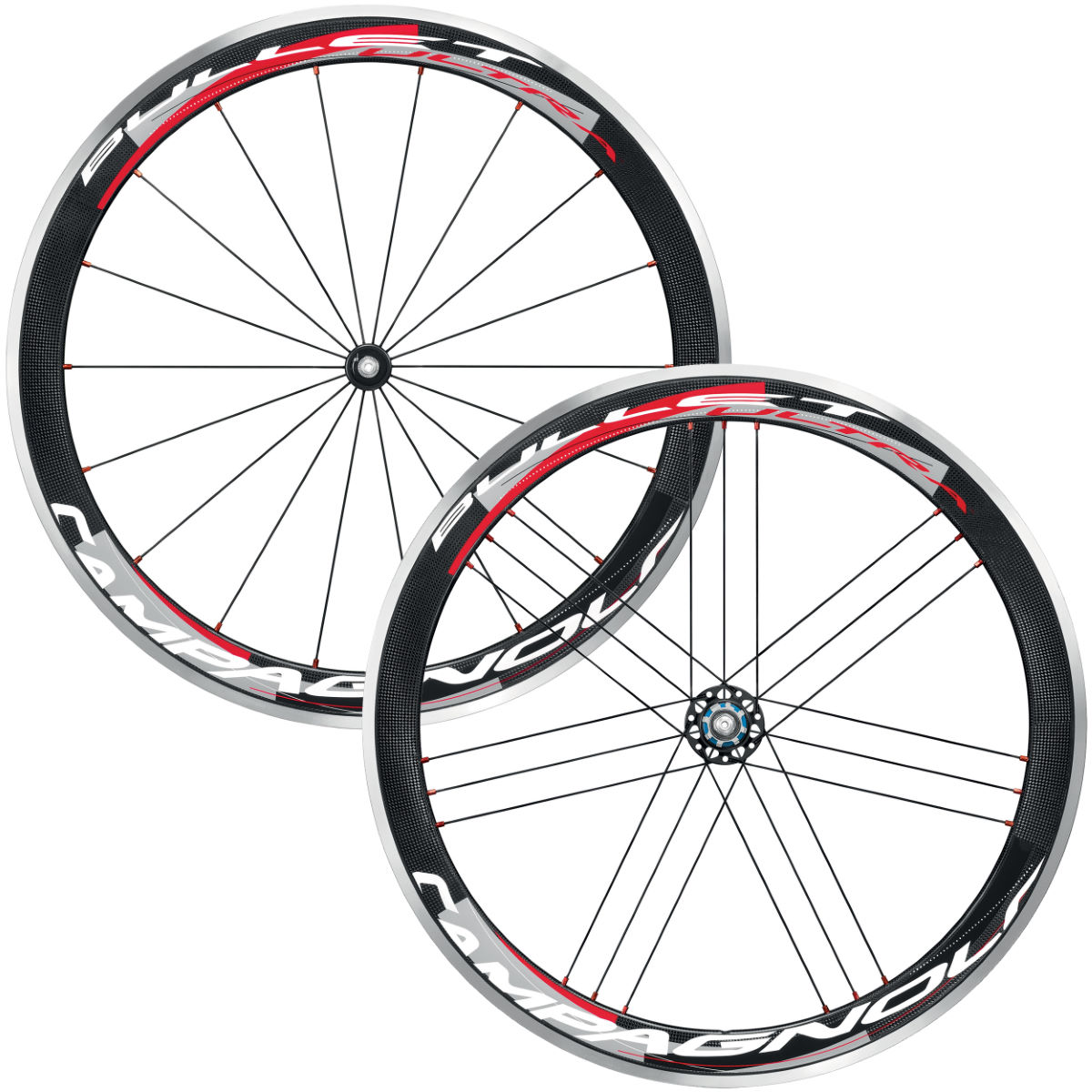 Paires de roues Campagnolo Bullet Ultra 50 Cult Dark Label (carbone) - Campagnolo Freehub Black/White/Red Roues performance