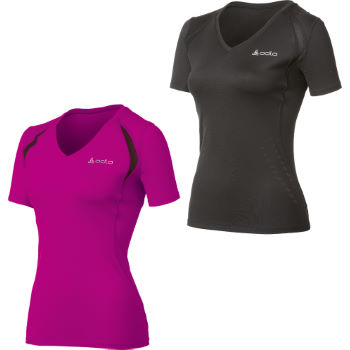 Odlo Ladies Short Sleeve V-Neck Stripe T-Shirt