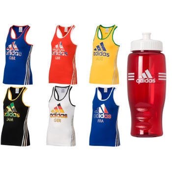 Adidas Ladies 3 Stripe Flag Tank Top With Free Bottle
