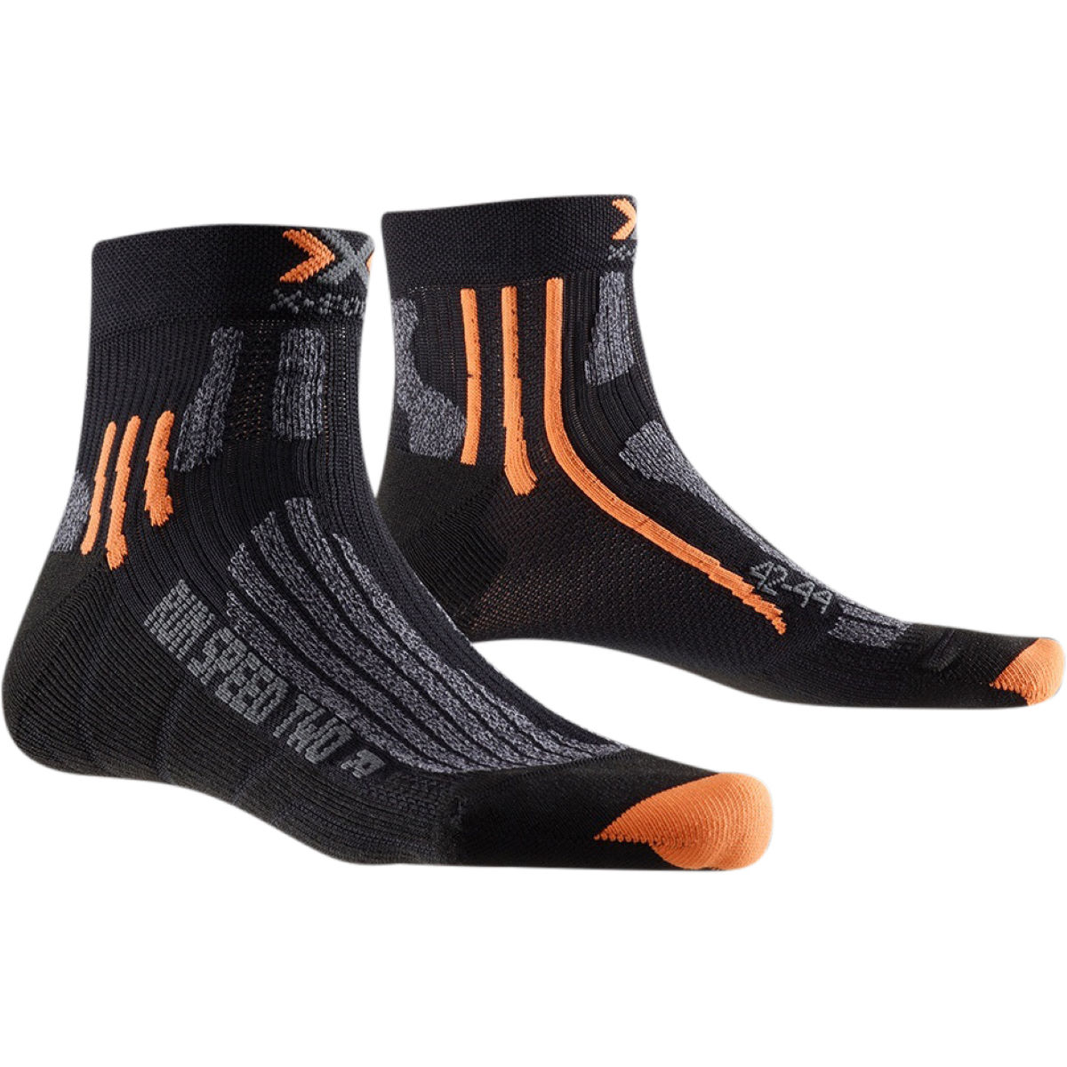 Chaussettes X-Socks Run Speed Two - 3-5.5 UK Noir/Gris Chaussettes de running