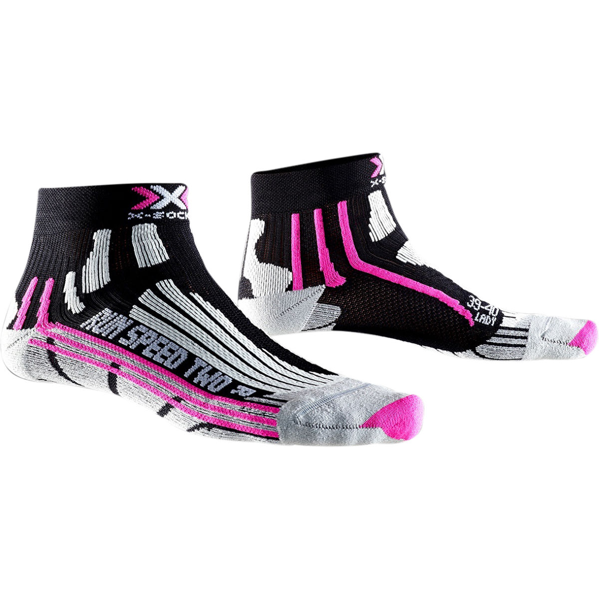 Chaussettes Femme X-Socks Run Speed Two - 2.5-3.5 UK Black/Fuchsia Chaussettes de running