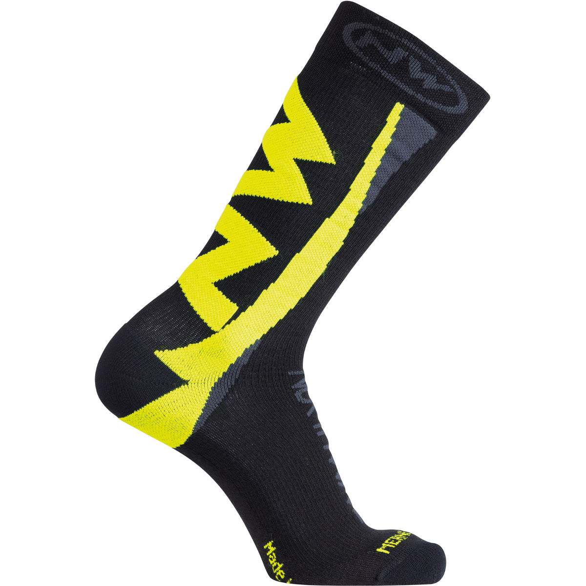 Chaussettes montantes Northwave Extreme Hiver - L Black/Yellow Fluro