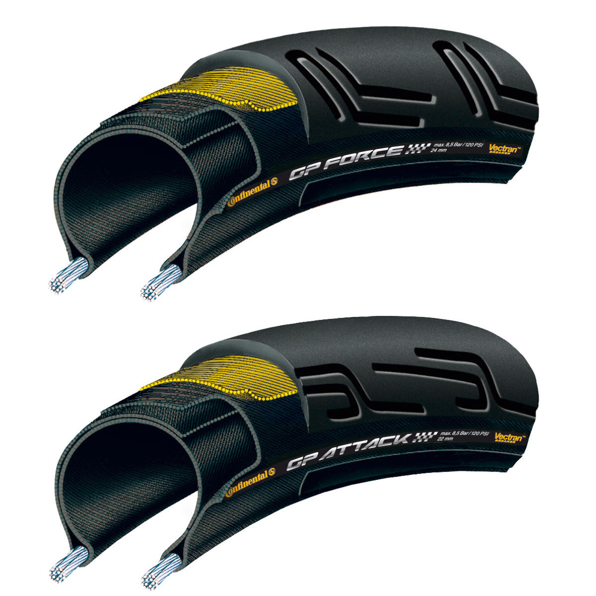 Pneus Continental GP Force II et Attack II (set, souples) - Noir
