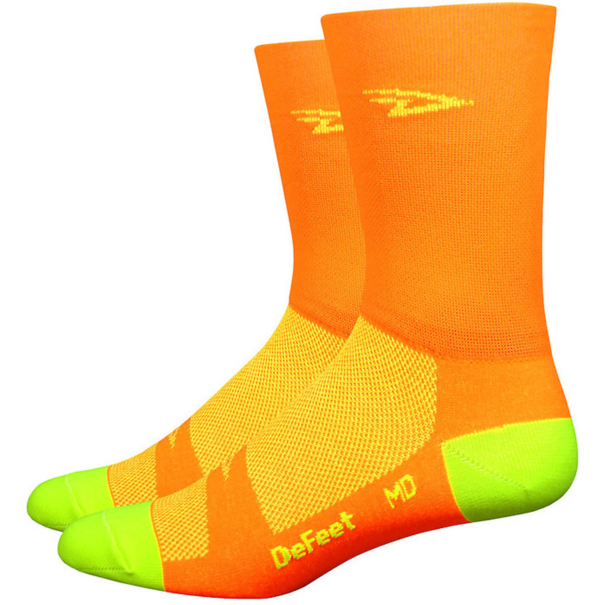 Chaussettes hautes DeFeet Aireator Hi-Vis - S Orange/Yellow