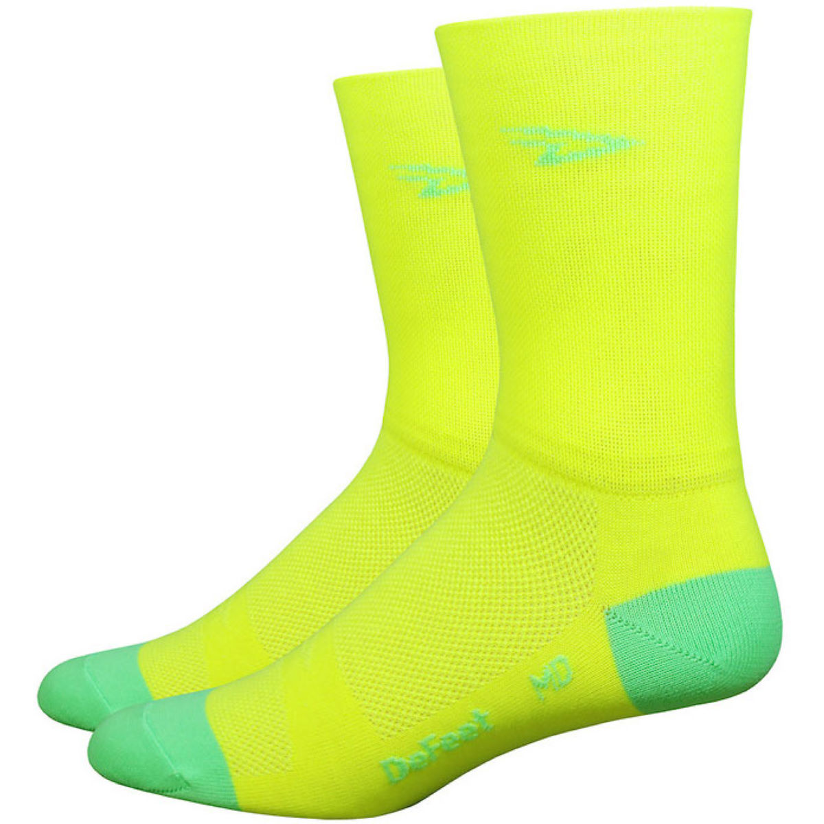 Chaussettes hautes DeFeet Aireator Hi-Vis - S Yellow/Green Chaussettes vélo