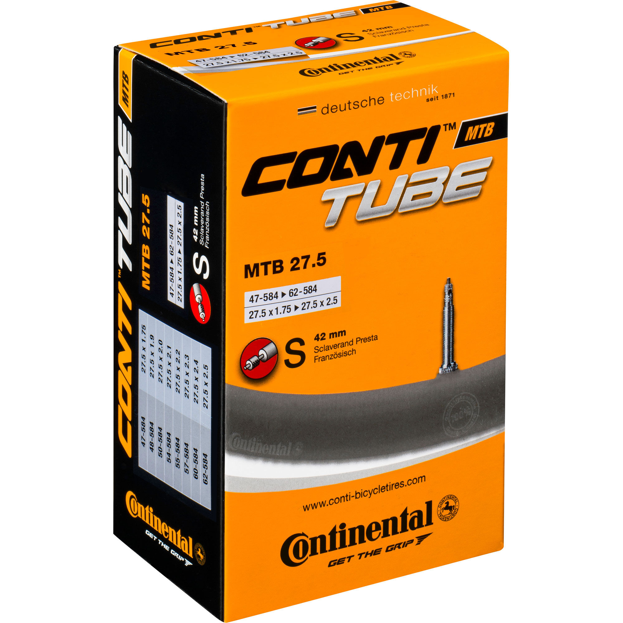 Wiggle continental quality 650b mtb inner tube inner tubes for Camarade de chambre