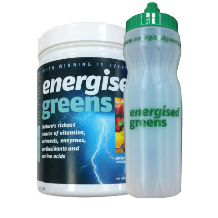 Energised Greens 270g Tub with a Free Water Bottle