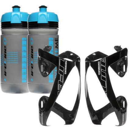LifeLine Performance 3K Carbon Bottle Cage+ Bottle- 2 Pack