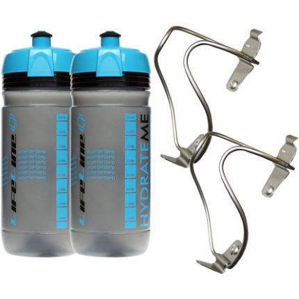 LifeLine Titanium Bottle Cage + 550ml Bottle- 2 Pack