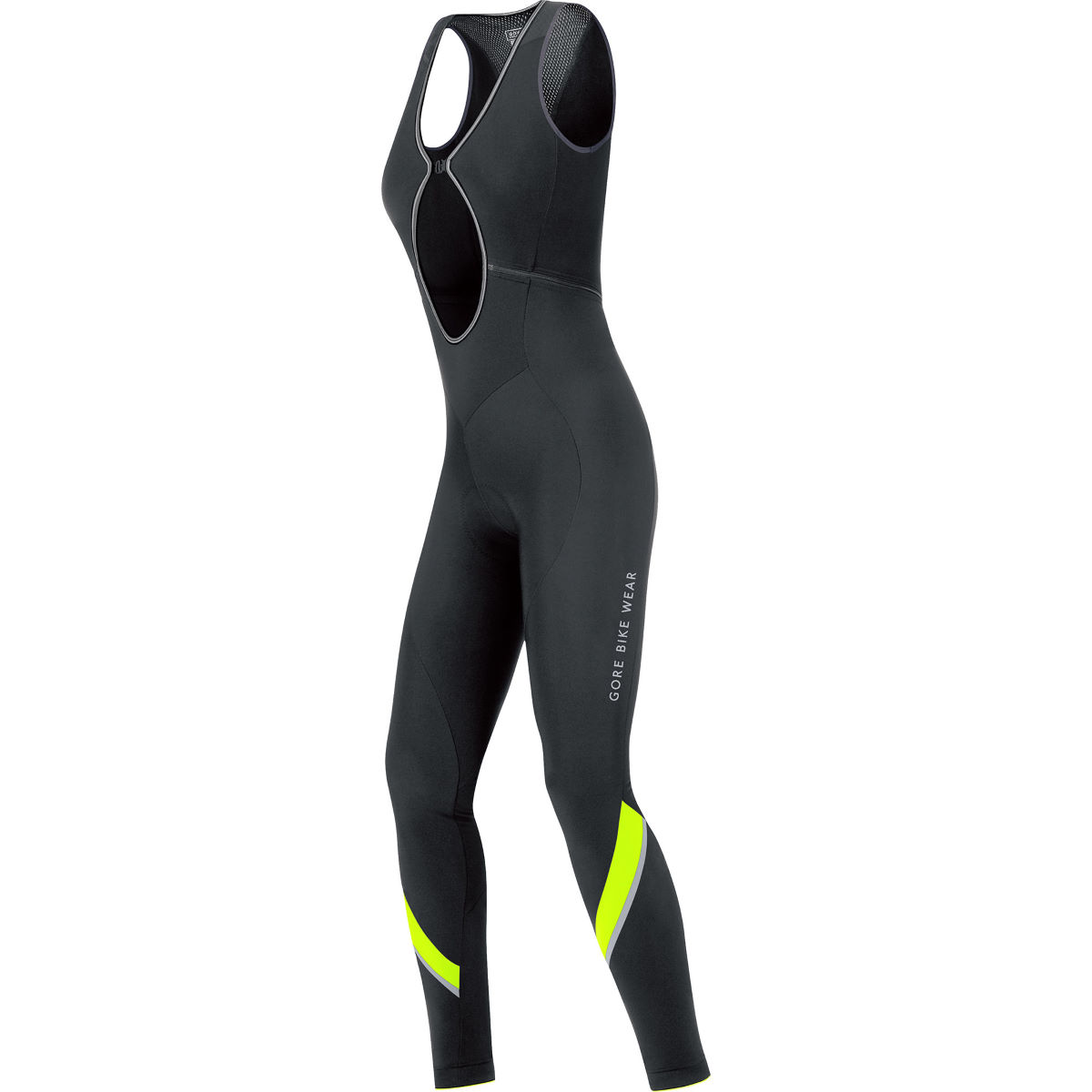 Cuissard long à bretelles Femme Gore Bike Wear Power 2.0 Thermo+ - XS Black/Neon Yellow Cuissards longs de vélo