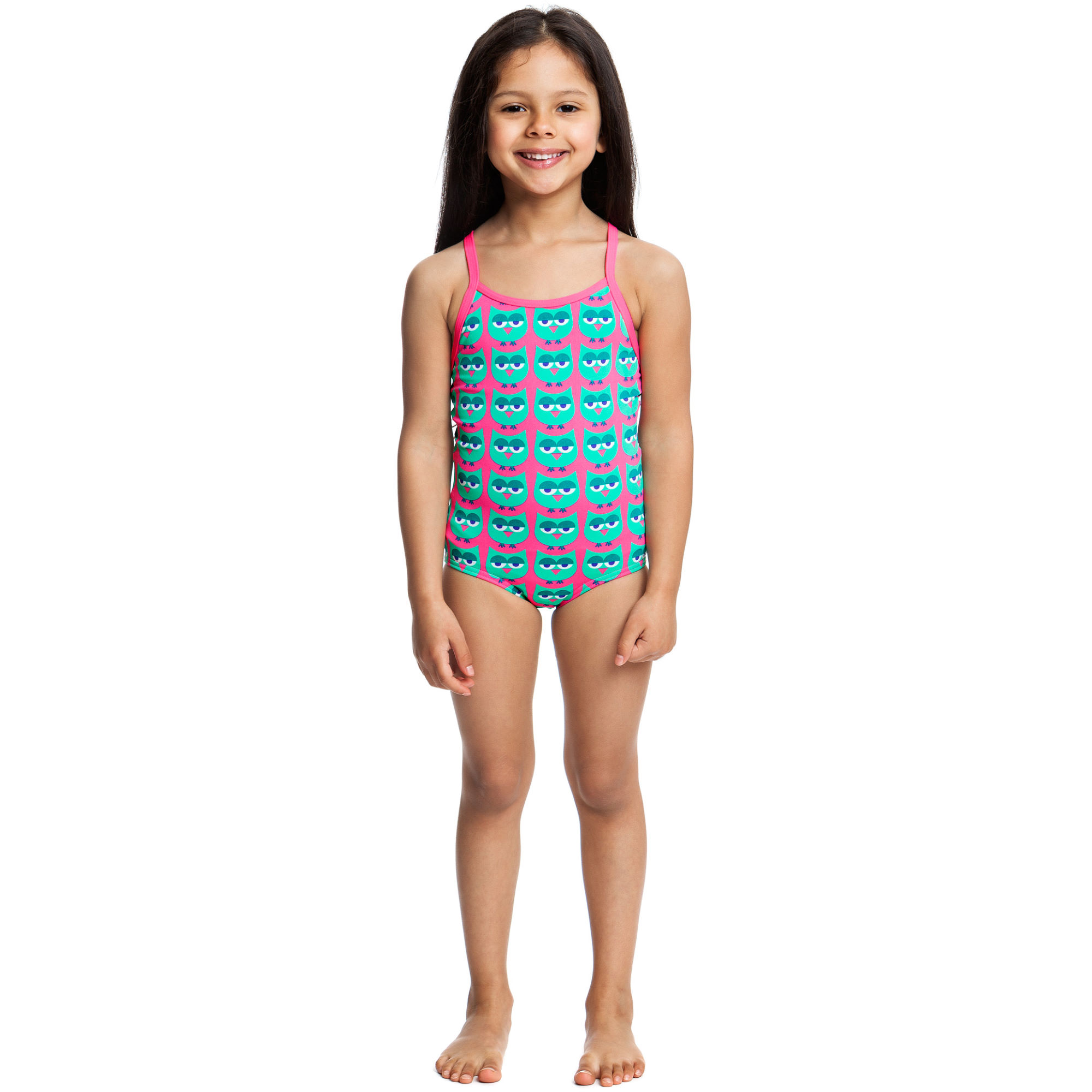 Our girls' swimwear is designed with children in mind. We carry one-piece and two-piece styles in adorable patterns and designs that both kids and parents will love. Designs range from simple classic styles with muted colors and straight lines to modern styles with plenty of embellishments and bold prints.