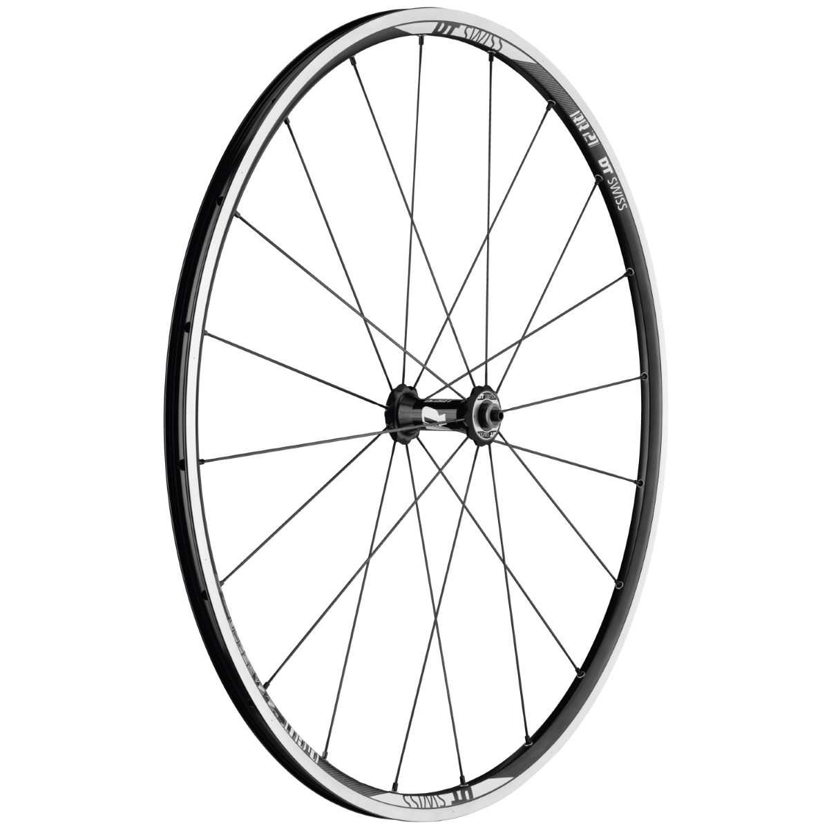 Roue avant DT Swiss RR21 Dicut (alliage) - 700c - Clincher Noir/Blanc Roues performance