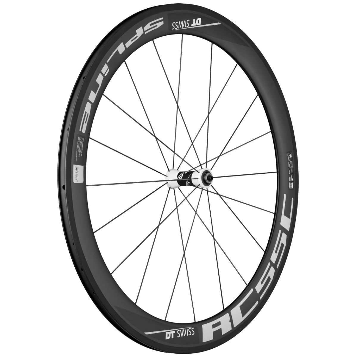 Roue avant DT Swiss RC 55 Spline (carbone) - 700c - Clincher Noir Roues performance