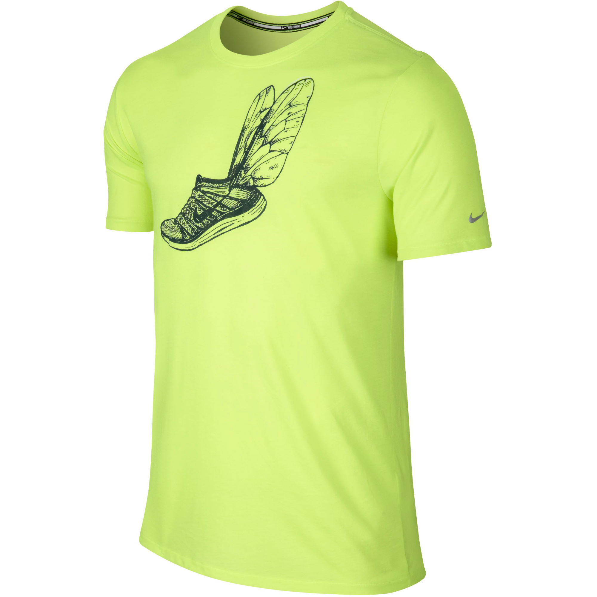 Wiggle nike run printed flyknit tee sp15 running for Nike flyknit t shirt