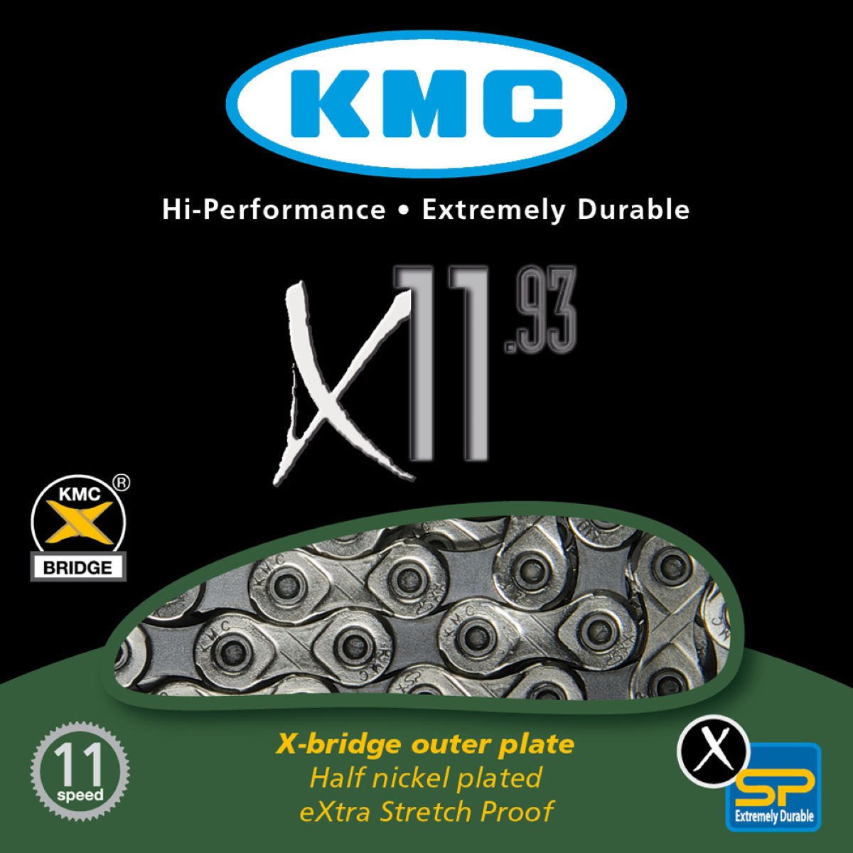Chaîne KMC X11-93 11 vitesses (114 maillons) - 11 speed 114 links
