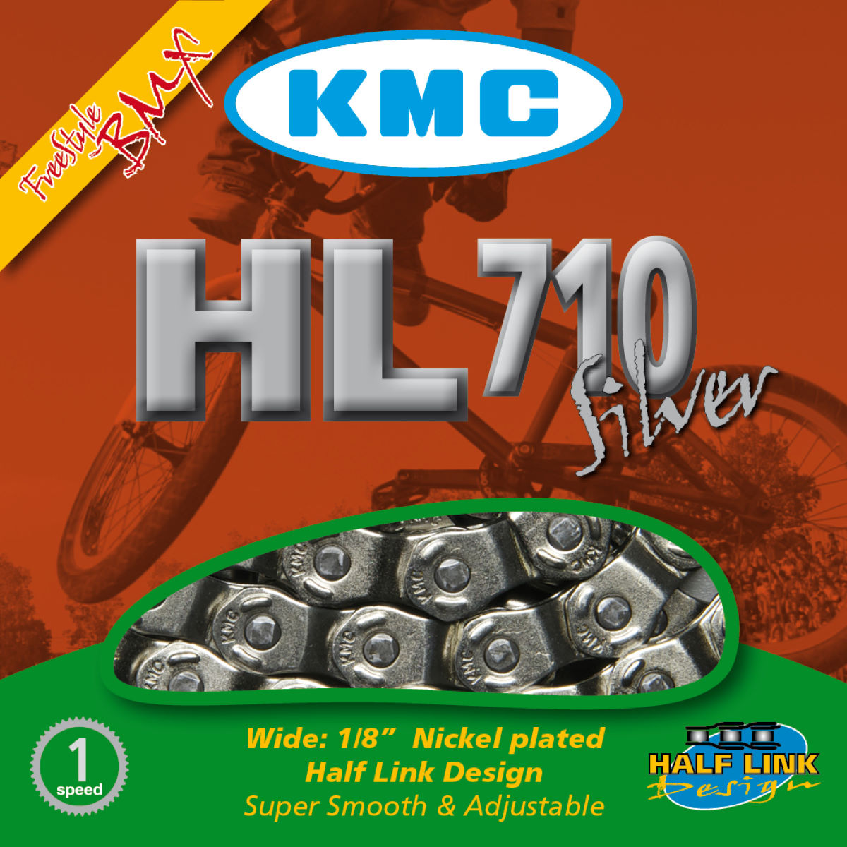 Chaîne single-speed KMC HL710 Demi-maillons - 1 1/8'' 104 Links