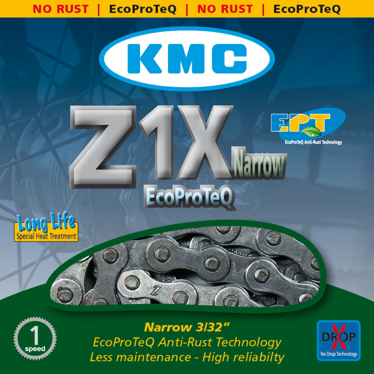Chaîne KMC Z1X Narrow Ept à vitesse unique - 1 1/8'' 112 Links Gris