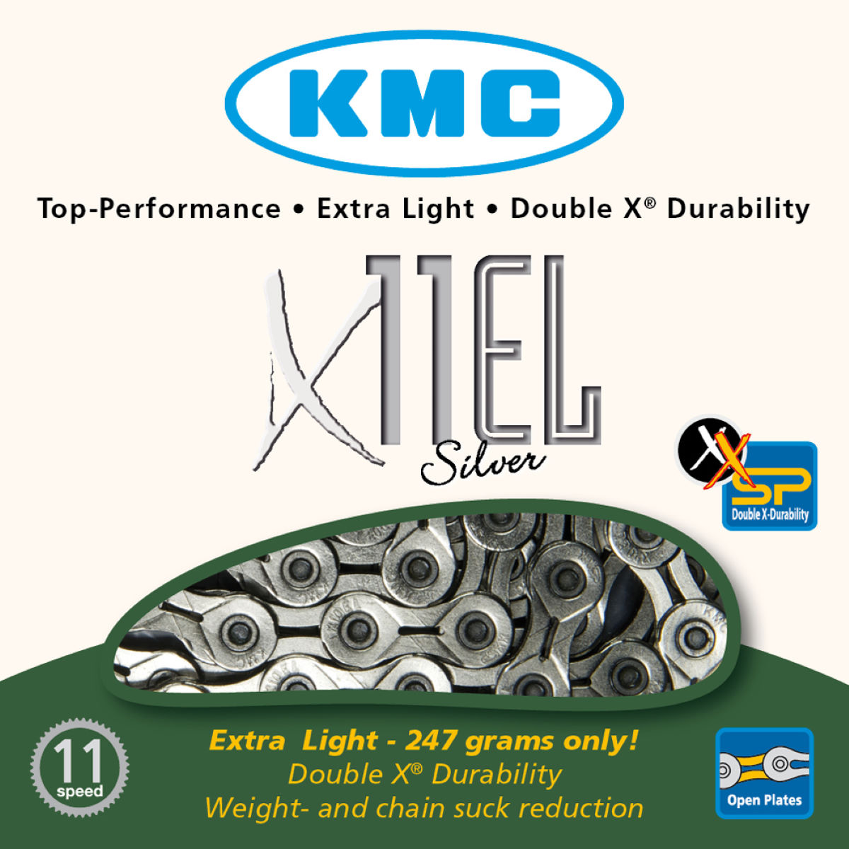 Chaîne KMC X11-EL 11 vitesses (argentée) - 11 Speed, 114 Links