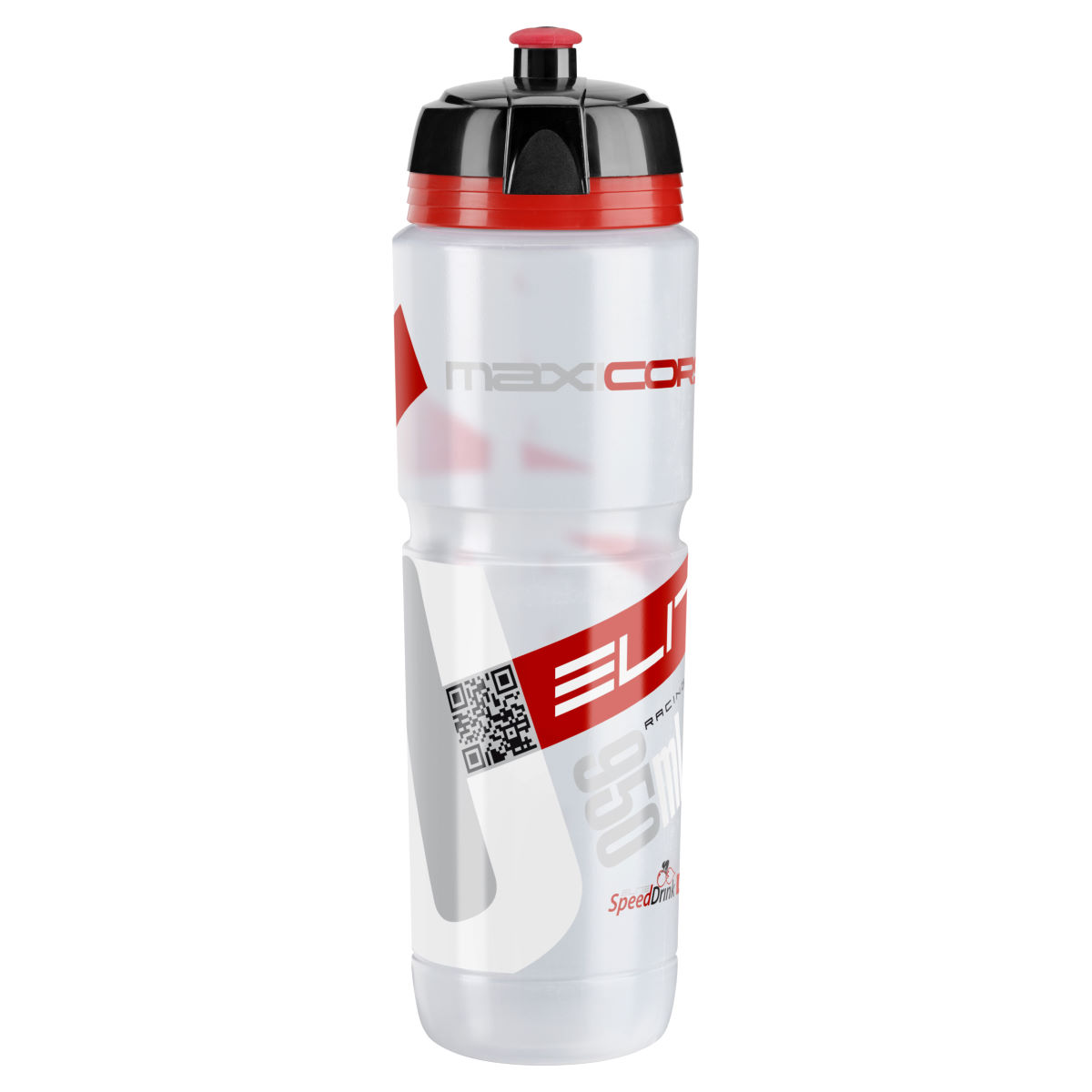 Bidon d'eau Elite MaxiCorsa (950 ml) - 950ml Clear/Red Logo