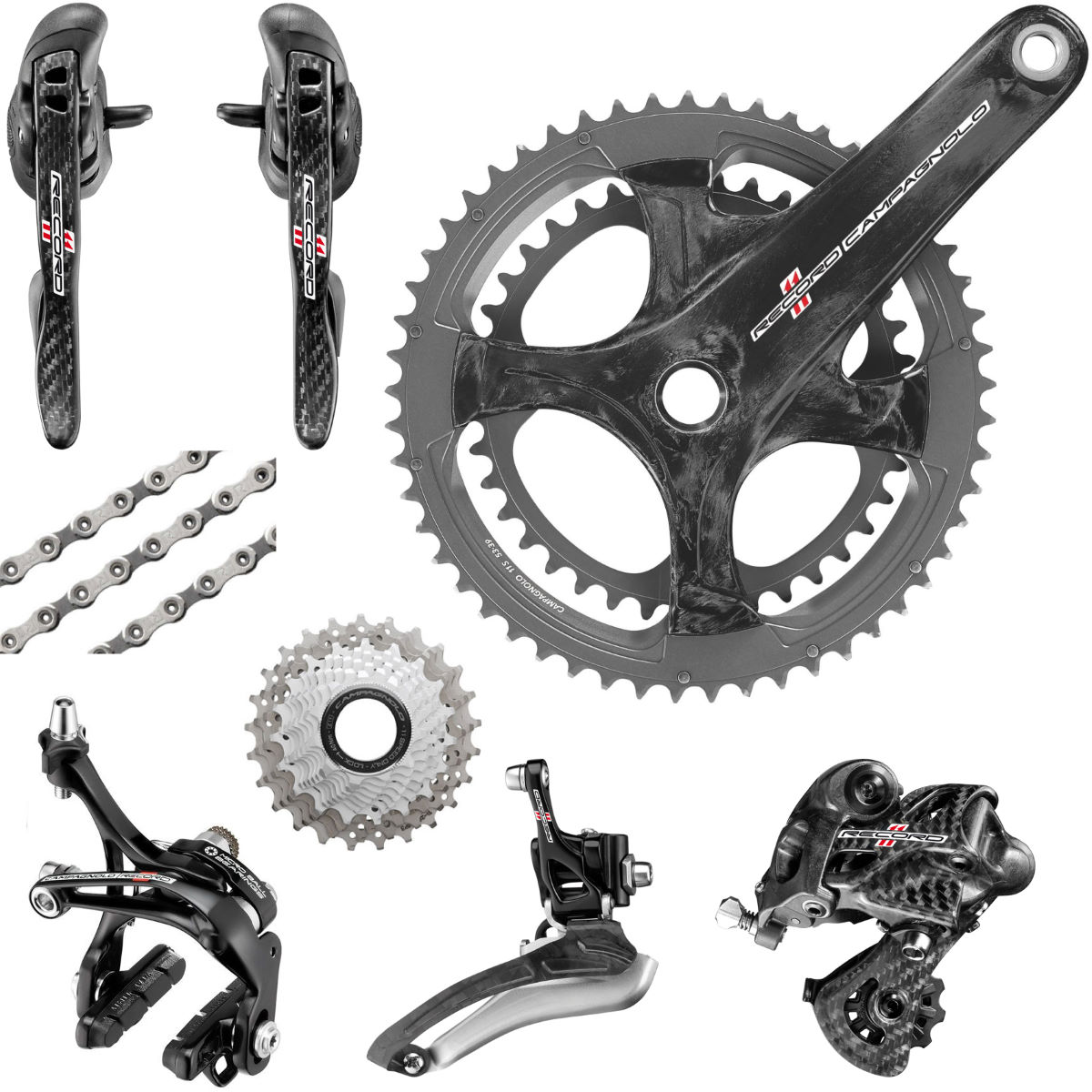 Groupe Campagnolo Record (Carbone) 11 vitesses - -170mm x 50/34 Black 12-27 cassette Groupes