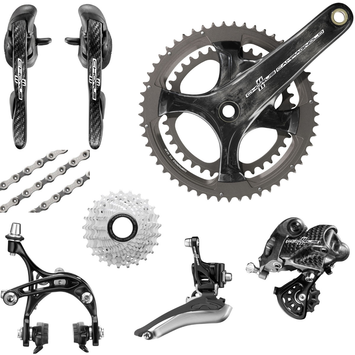 Groupe Campagnolo Chorus (Carbone) 11 vitesses - -175mm x 50/34 Black 12-27 cassette Groupes