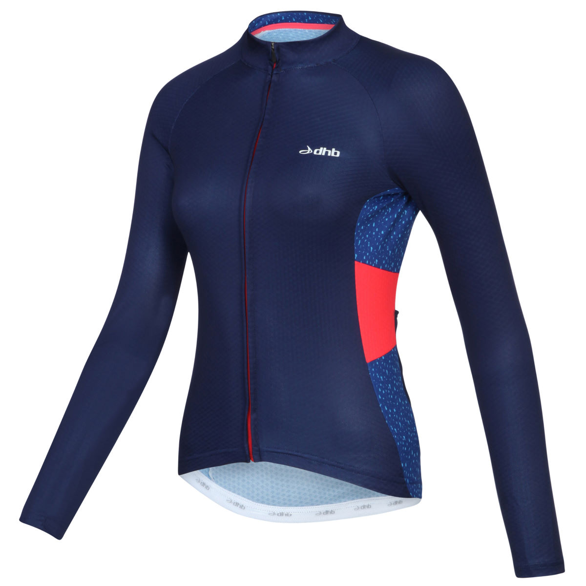 Maillot Femme dhb Aeron Sportive (manches longues) - 10 UK Navy/Red/Print Maillots vélo à manches longues