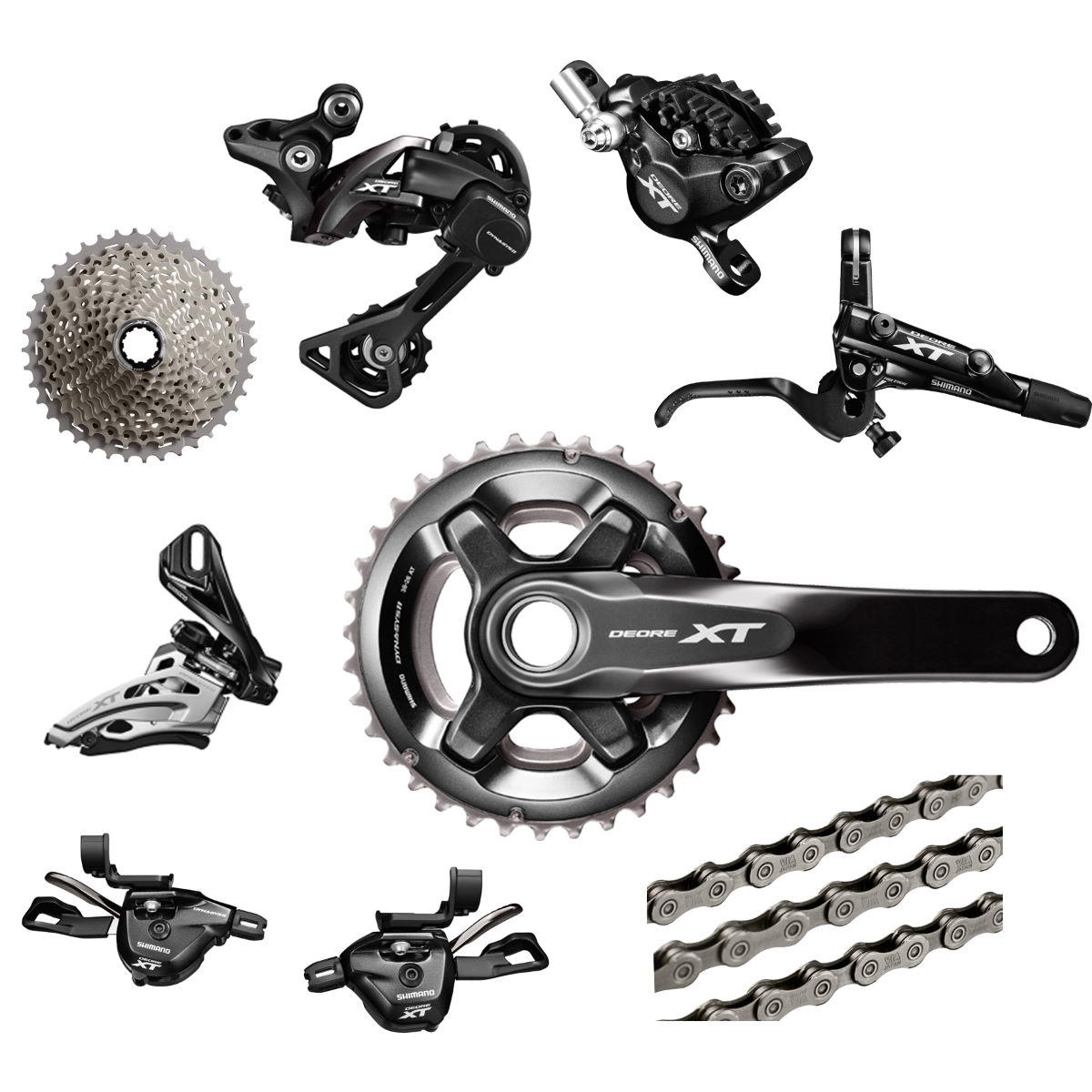 Shimano Deore XT M8000 Groupset with Double Chainset