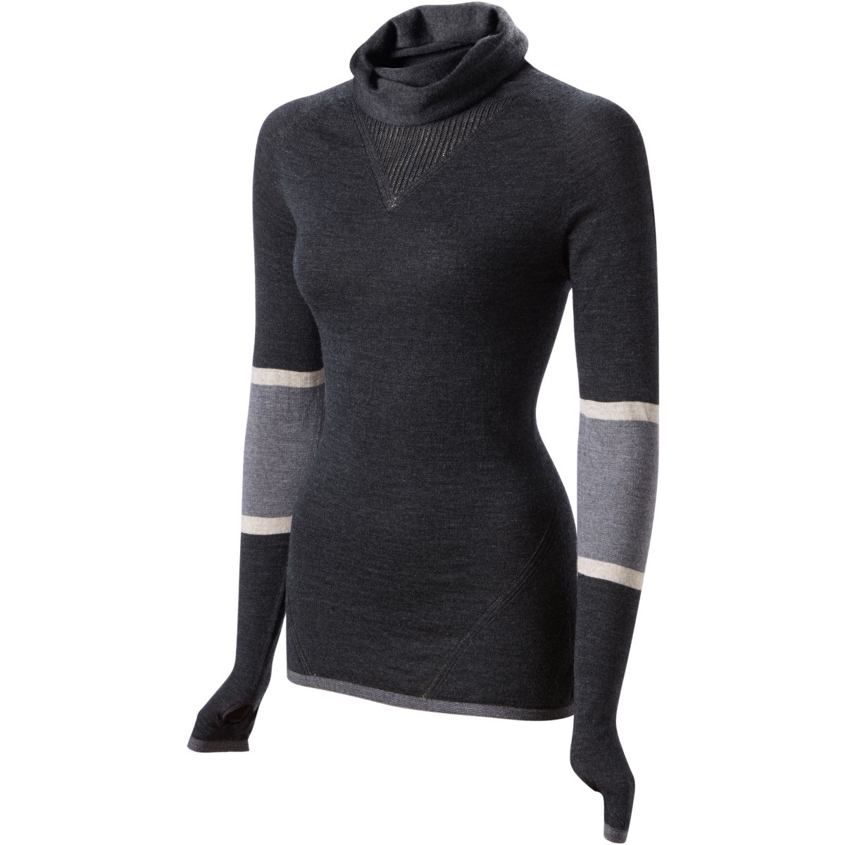 Maillot Femme FINDRA Marin (col roulé, rayé) - S Charbon Maillots