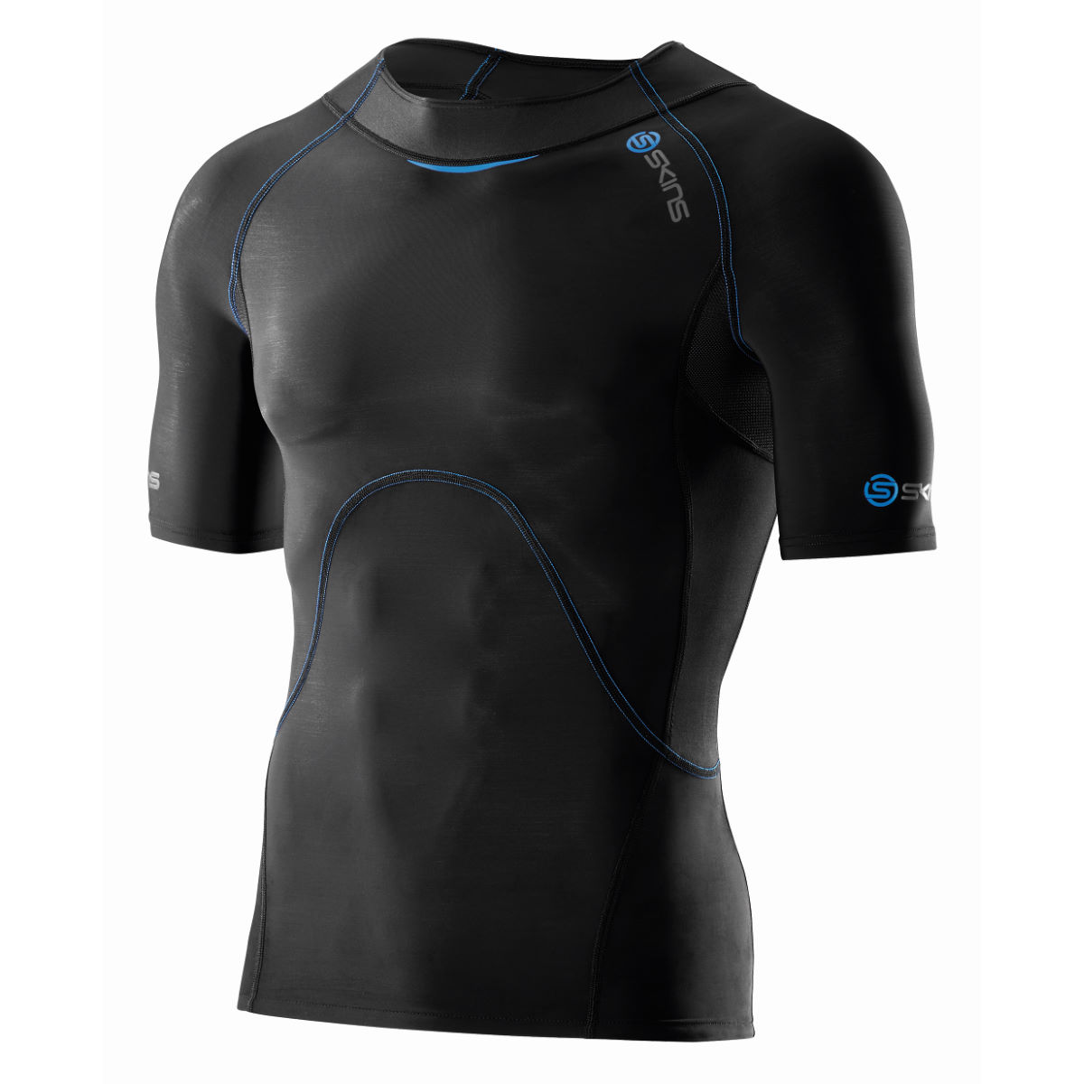 Maillot SKINS Ignite (manches courtes) - S Black / Blue Sous-vêtements compression