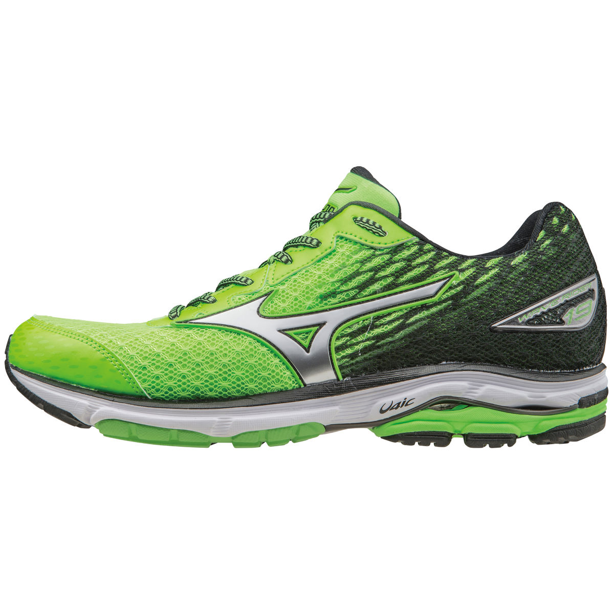 Chaussures Mizuno Wave Rider 19 (PE16) - 10 UK Green/Silver/Black Chaussures de running amorties
