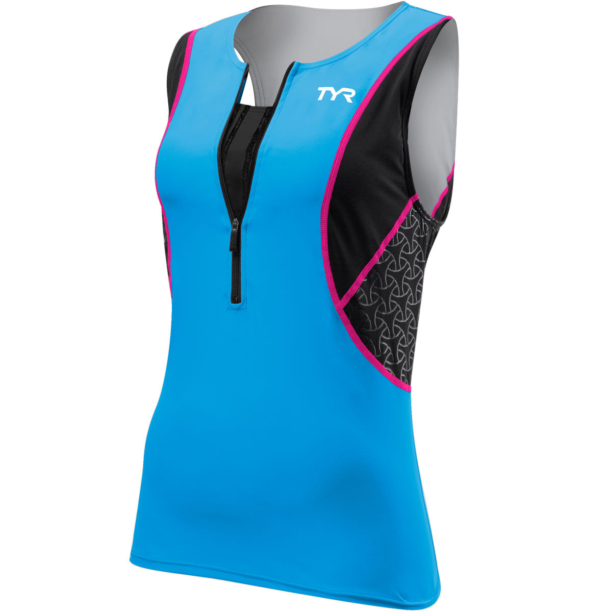TYR Loose Singlet with Bra - Small Black/Blue/Pink | Tri Tops
