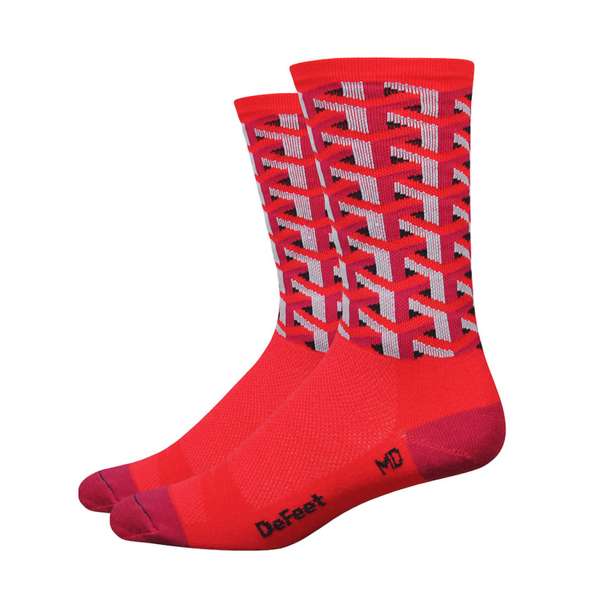 Chaussettes DeFeet Red Framework - Small Rouge Chaussettes vélo