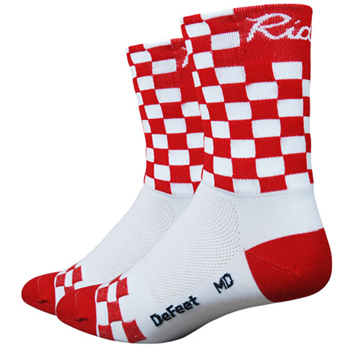 Chaussettes DeFeet Aireator Red Checkmate - XL Blanc/Rouge Chaussettes vélo
