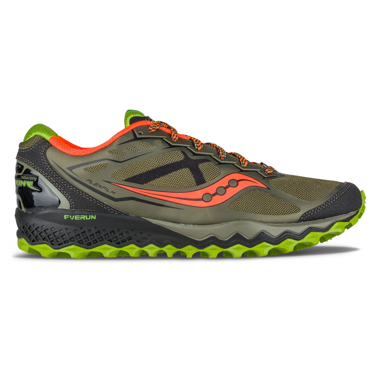 Chaussures Saucony Peregrine 6 (AH16) - 10 UK Olive/Green/Orange Chaussures de running trail