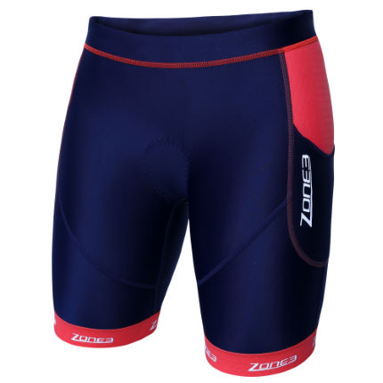 Zone3 Aquaflo Plus triatlonbroek voor dames (donkerblauw/koraalrood)