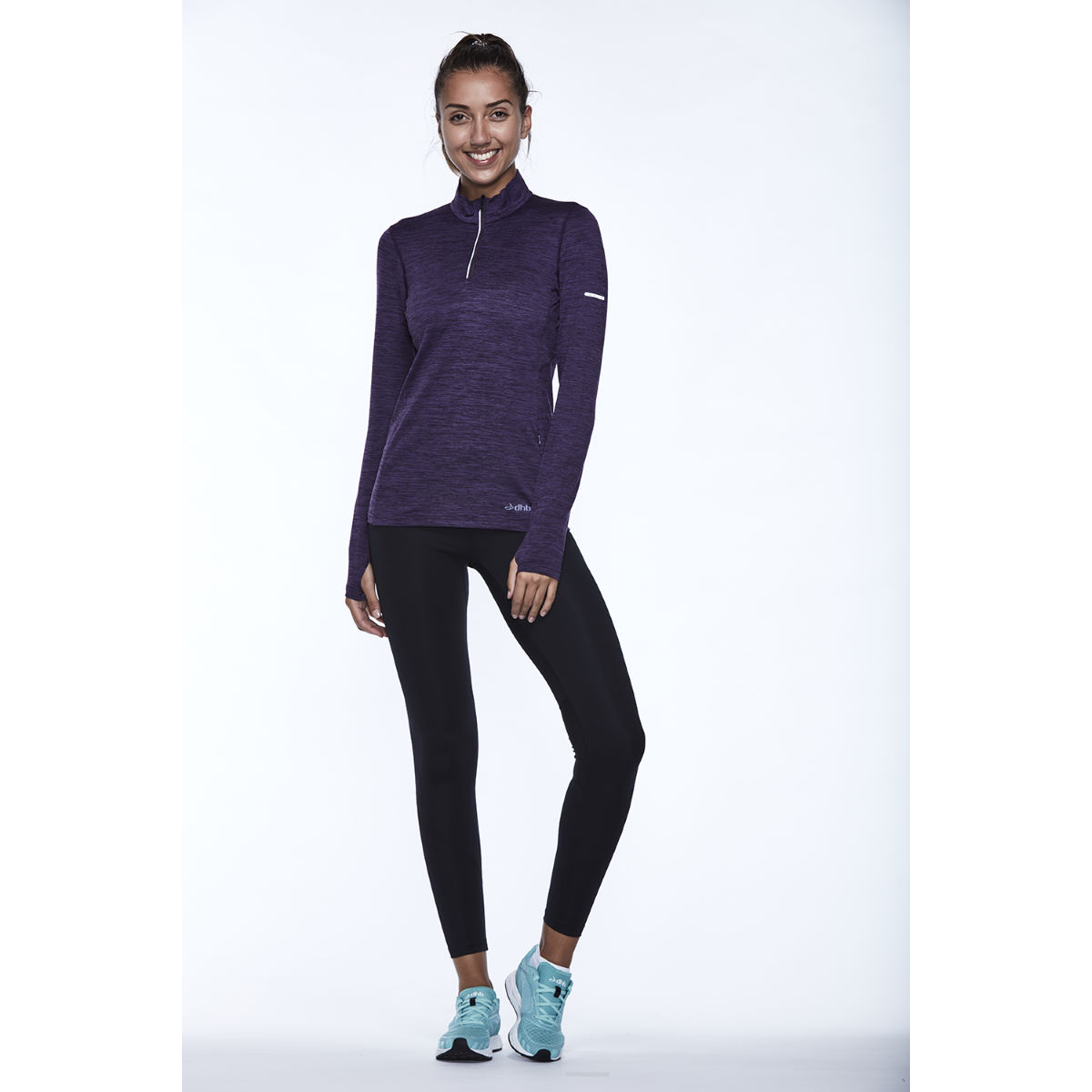dhb Women's Long Sleeve Winter 1/4 Zip Top - UK 12 Grape