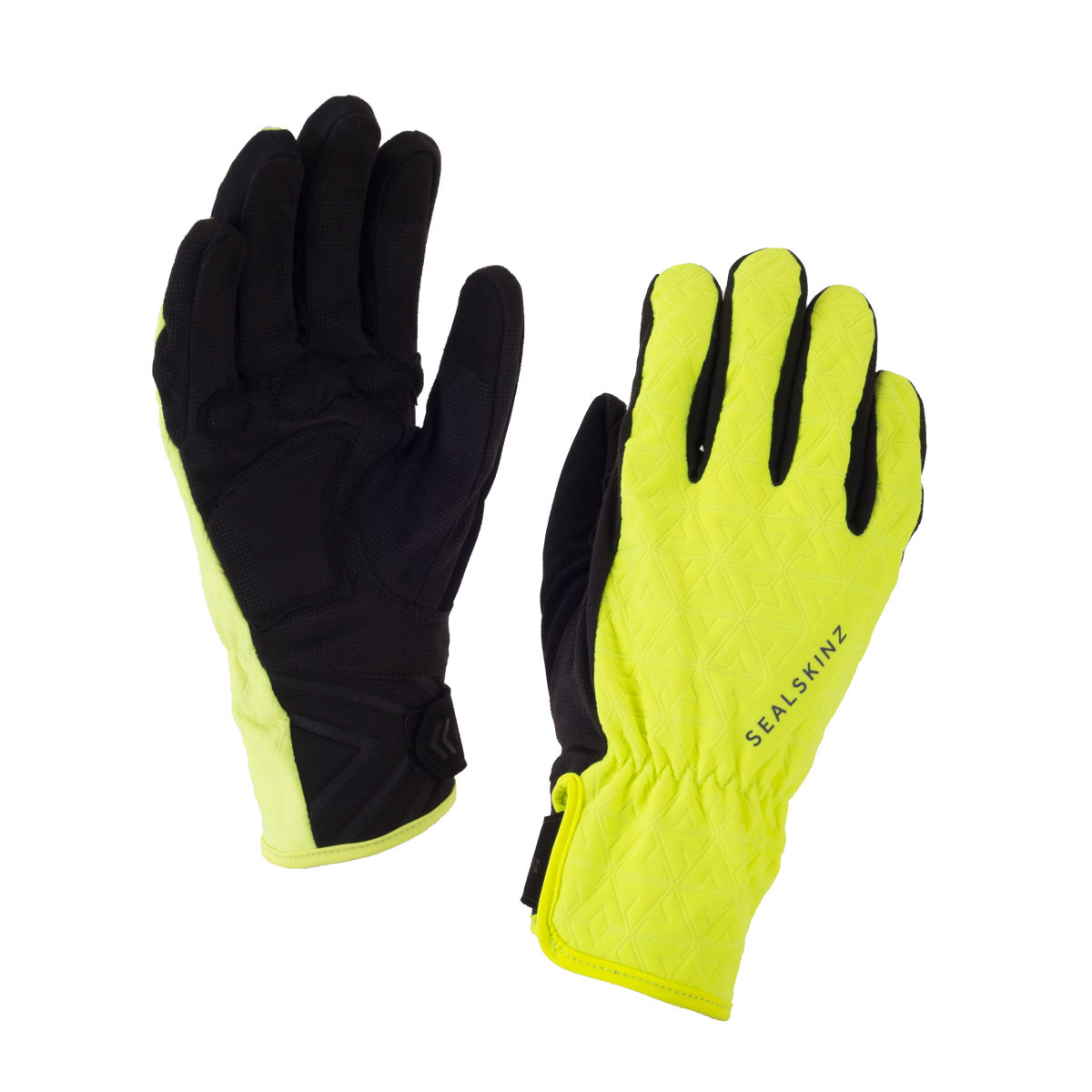 Gants cyclistes Femme SealSkinz All Weather - L Black/Hi Vis Yellow