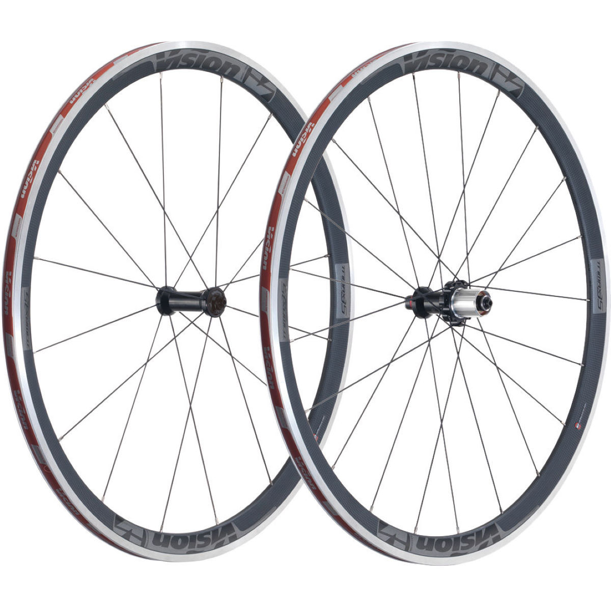 Paire de roues Vision Trimax Carbon 35 - 700c 10/11 Speed Gris