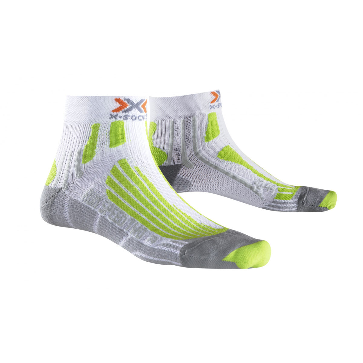 Chaussettes X-Socks Run Speed Two - 3-5.5 UK White/Lime Green Chaussettes de running