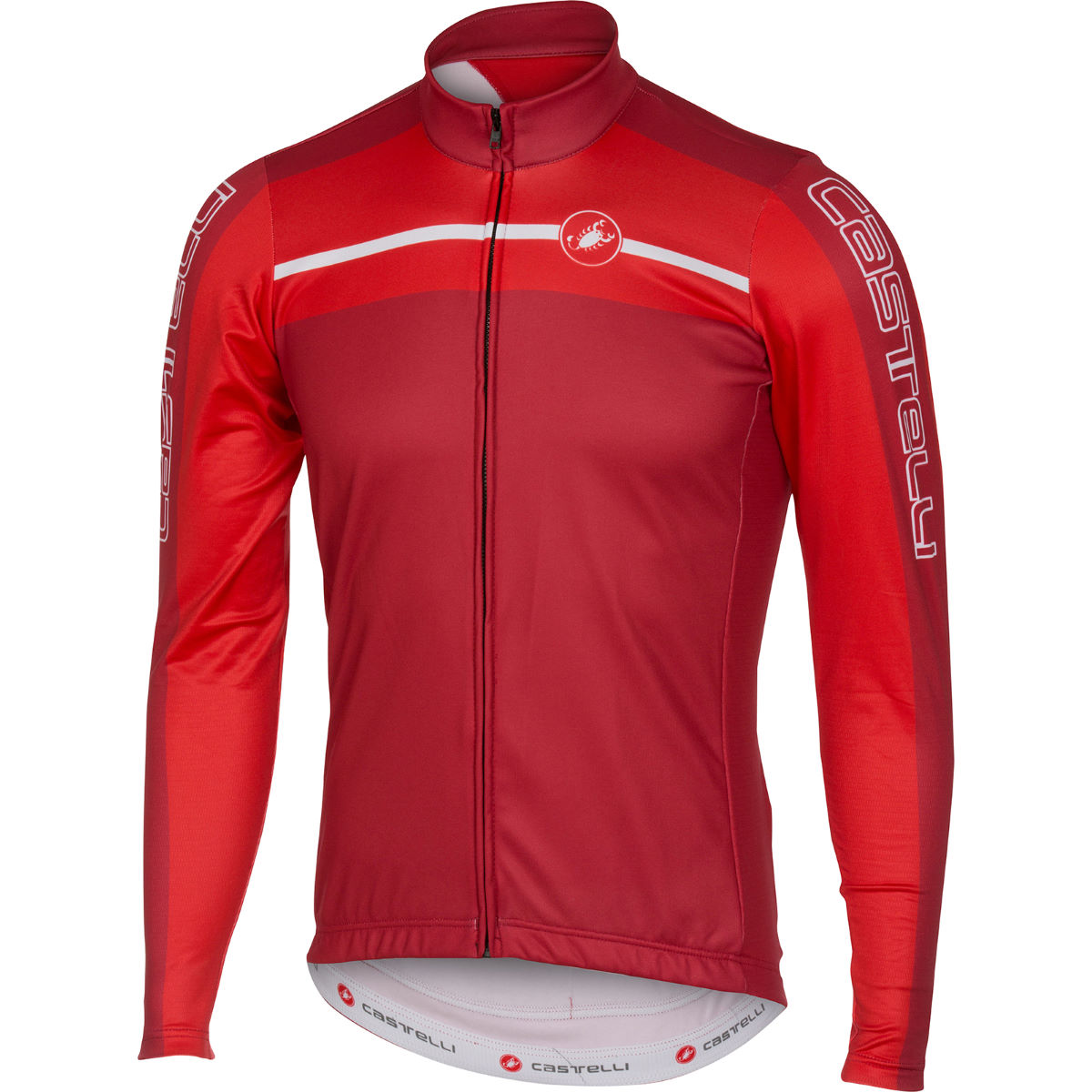 Maillot Castelli Velocissimo (fermeture zippée intégrale, manches longues) - XL Red/Ruby Red Maillots vélo à manches longues