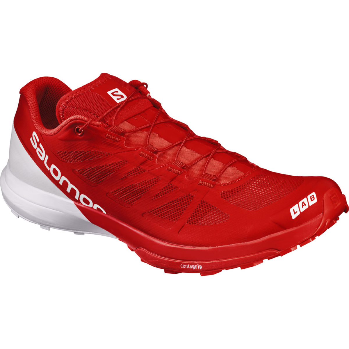 Chaussures Salomon S-Lab Sense 6 (unisexes, PE17) - 5 UK Red/White/White Chaussures de running trail